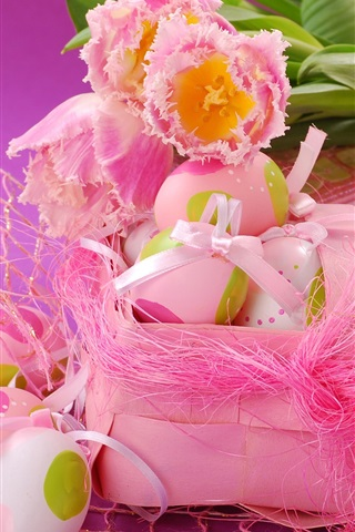 iPhone Wallpaper Pink style, Easter eggs, tulip flowers