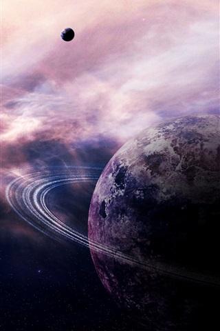 iPhone Wallpaper Planet, ring nebula, stars, comet