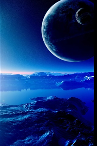 iPhone Wallpaper Planets, mountains, terrain, universe, sky, star, light
