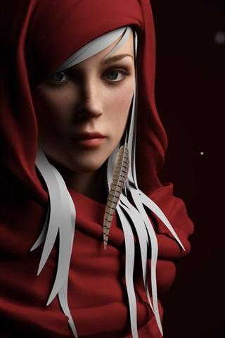 iPhone Wallpaper Red dress fantasy girl