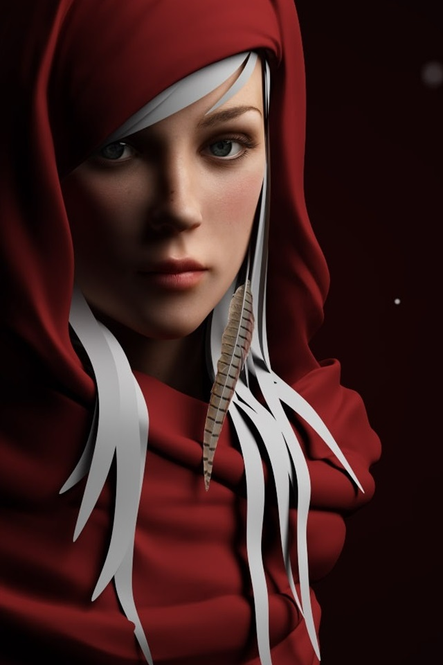 Red Dress Fantasy Girl 640x960 Iphone 4 4s Wallpaper