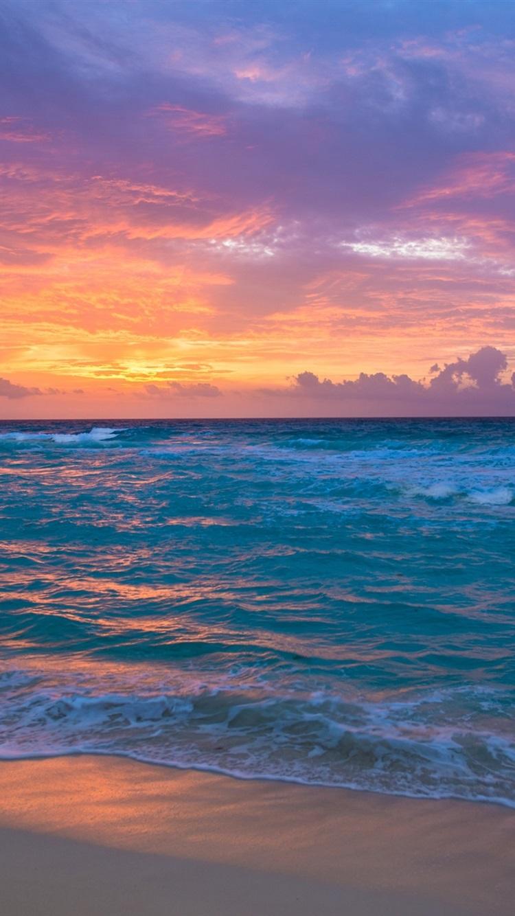 Wallpaper Seaside Dawn Sea Waves Sand Sky Clouds