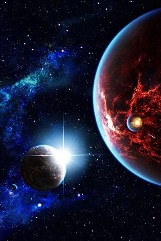 iPhone Wallpaper Space, stars, universe, planet, satellite, nebula