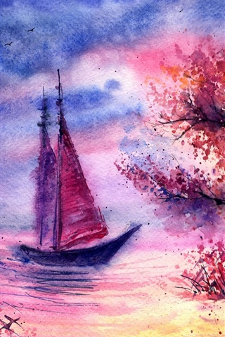 iPhone Wallpaper Watercolor landscape, evening, tree, sailing, river