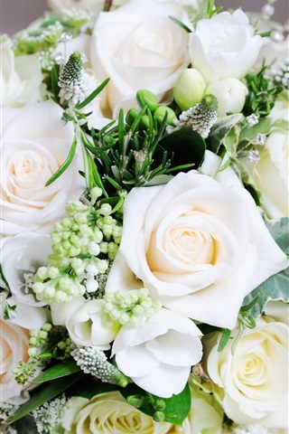 iPhone Wallpaper White bouquet rose, flowers, leaves