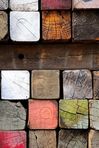 iPhone Wallpaper Wood, lumber, paint, colorful