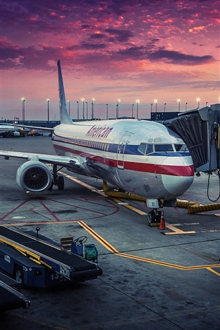 American Airlines, Chicago, airplane, airport, dawn 640x1136