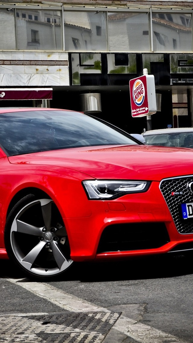 Audi Rs5 Red Car Side View 640x1136 Iphone 5 5s 5c Se Wallpaper Background Picture Image