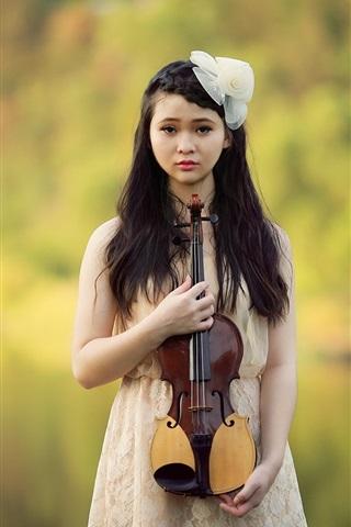 iPhone Wallpaper Beautiful asian girl, violin, music