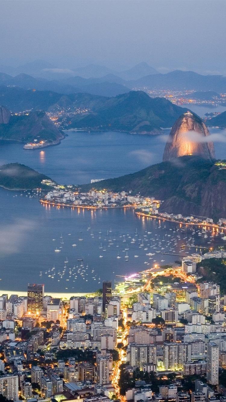 Wallpaper Brazil Rio De Janeiro Evening Sea Lights Coast
