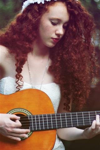 iPhone Wallpaper Brown hair girl, guitar, music