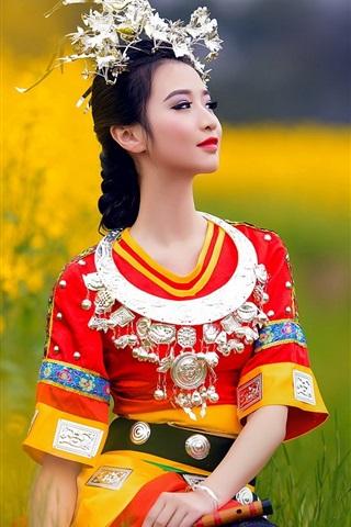 iPhone Wallpaper Chinese ethnic minority girls dress