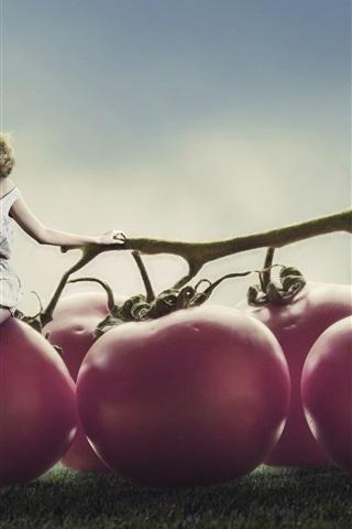 iPhone Wallpaper Creative design, girl, super tomatoes, glass of juice