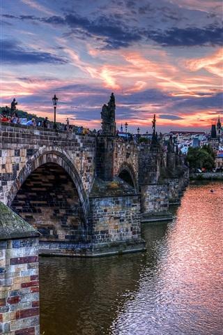 iPhone Wallpaper Czech, Prague, city, bridge, river, evening, houses, clouds