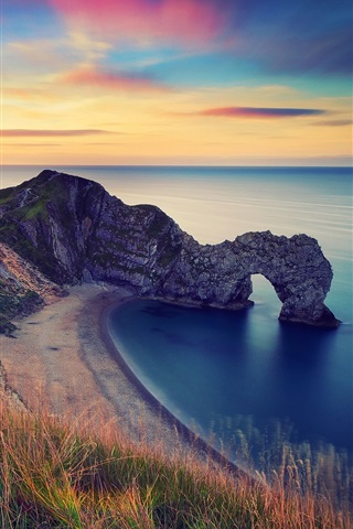 iPhone Wallpaper England, morning scenery, sea, rock arch