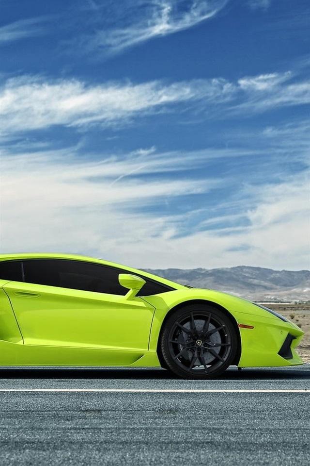 Wallpaper Lamborghini Aventador Green Supercar Side View 1920x1080