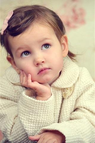 iPhone Wallpaper Little girl, sadness, look