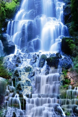 iPhone Wallpaper Many waterfalls, nature scenery
