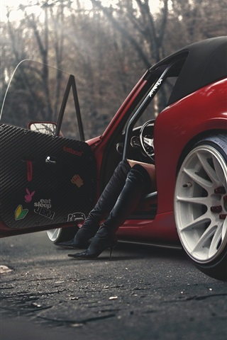 Mazda Mx 5 Red Car Back View Female Legs Boots 640x960