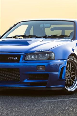 iPhone Wallpaper Nissan GTR R34 blue car