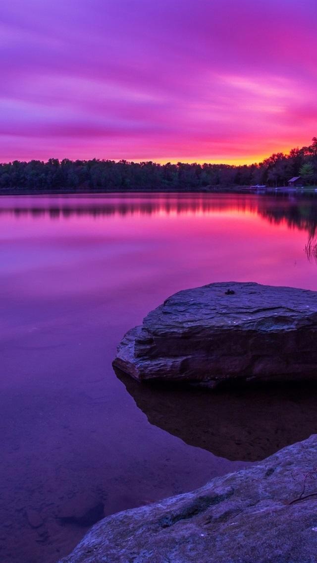 Wallpaper Purple Sunset Forest Lake Rocks 1920x1200 Hd