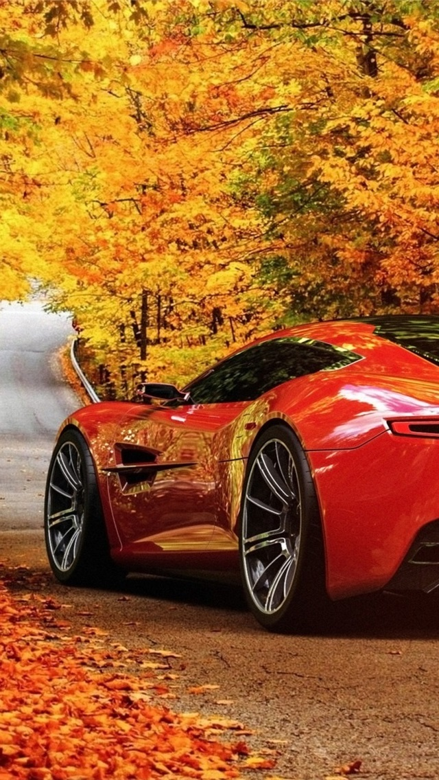 Red Aston Martin Dbc Concept Car Road Autumn 640x1136 Iphone 5 5s 5c Se Wallpaper Background Picture Image