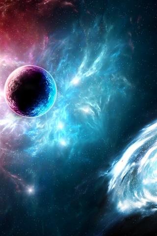 iPhone Wallpaper Space, universe, nebula, planet, galaxy, light