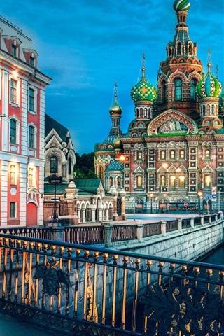 iPhone Wallpaper St. Petersburg, Russia, river, evening, lights