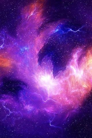 iPhone Wallpaper Stars, universe, nebula, purple light