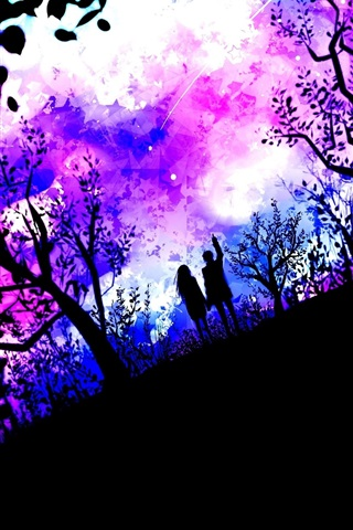 iPhone Wallpaper Art pictures, couple, nature, trees, stars, purple