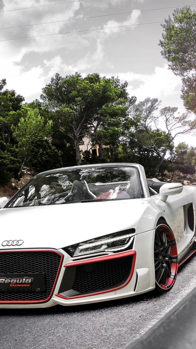 Audi R8 White Car Sunset Road Trees 750x1334 Iphone 8 7 6 6s