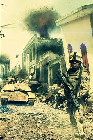iPhone Wallpaper Battlefield 3: Aftermath, city, soldiers