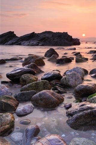 iPhone Wallpaper Beach sunset, sky, sun, sea, stones