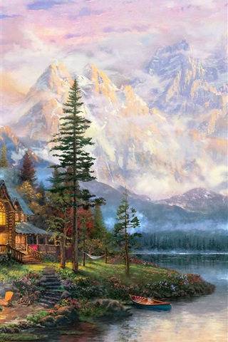 iPhone Wallpaper Beautiful painting, mountains, river, house, trees