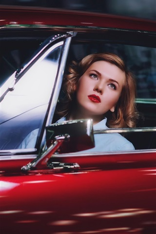 iPhone Wallpaper Blonde girl in red car
