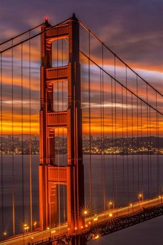 iPhone Wallpaper California, San Francisco Bridge, Golden Gate, beautiful evening, dusk, lights