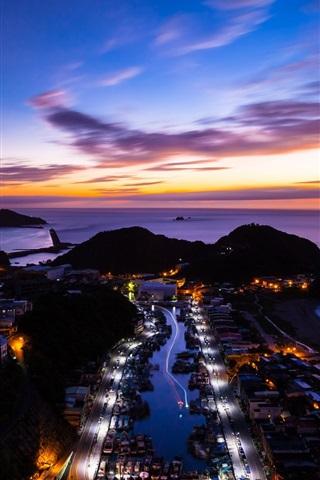iPhone Wallpaper China, Taiwan, island, ocean, sunset, city night