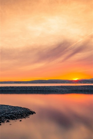 iPhone Wallpaper Coast, bay, calm morning, sunrise