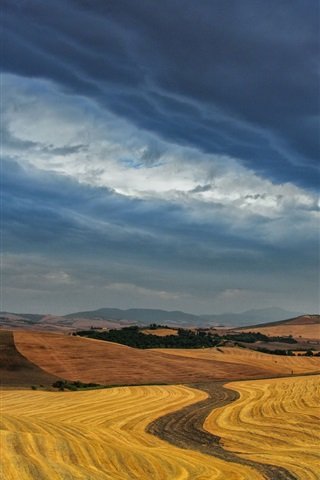 iPhone Wallpaper Dusk, sky, clouds, dry fields