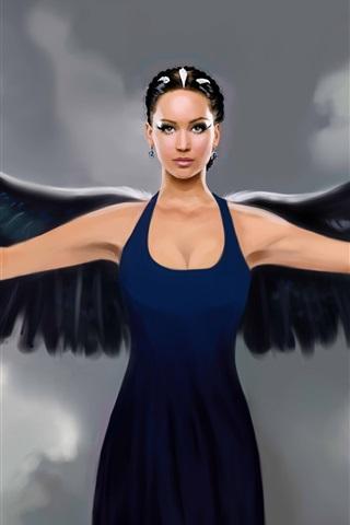 iPhone Wallpaper Fantasy art angel, black wings, blue dress