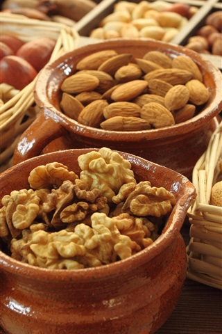 iPhone Wallpaper Food, nuts, almond, walnut, acorn, basket, pots