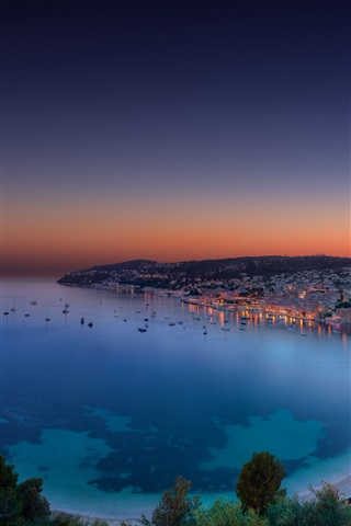 iPhone Wallpaper French Riviera, evening panorama, bay, dusk, sunset, Monaco