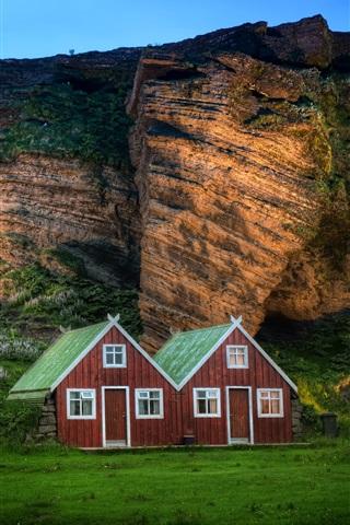 iPhone Wallpaper Iceland scenery, mountain, rock, hut, sunlight, dusk