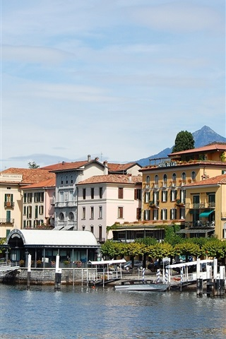 iPhone Wallpaper Italy, Lake Como, Lombardy, buildings, pier, mountains
