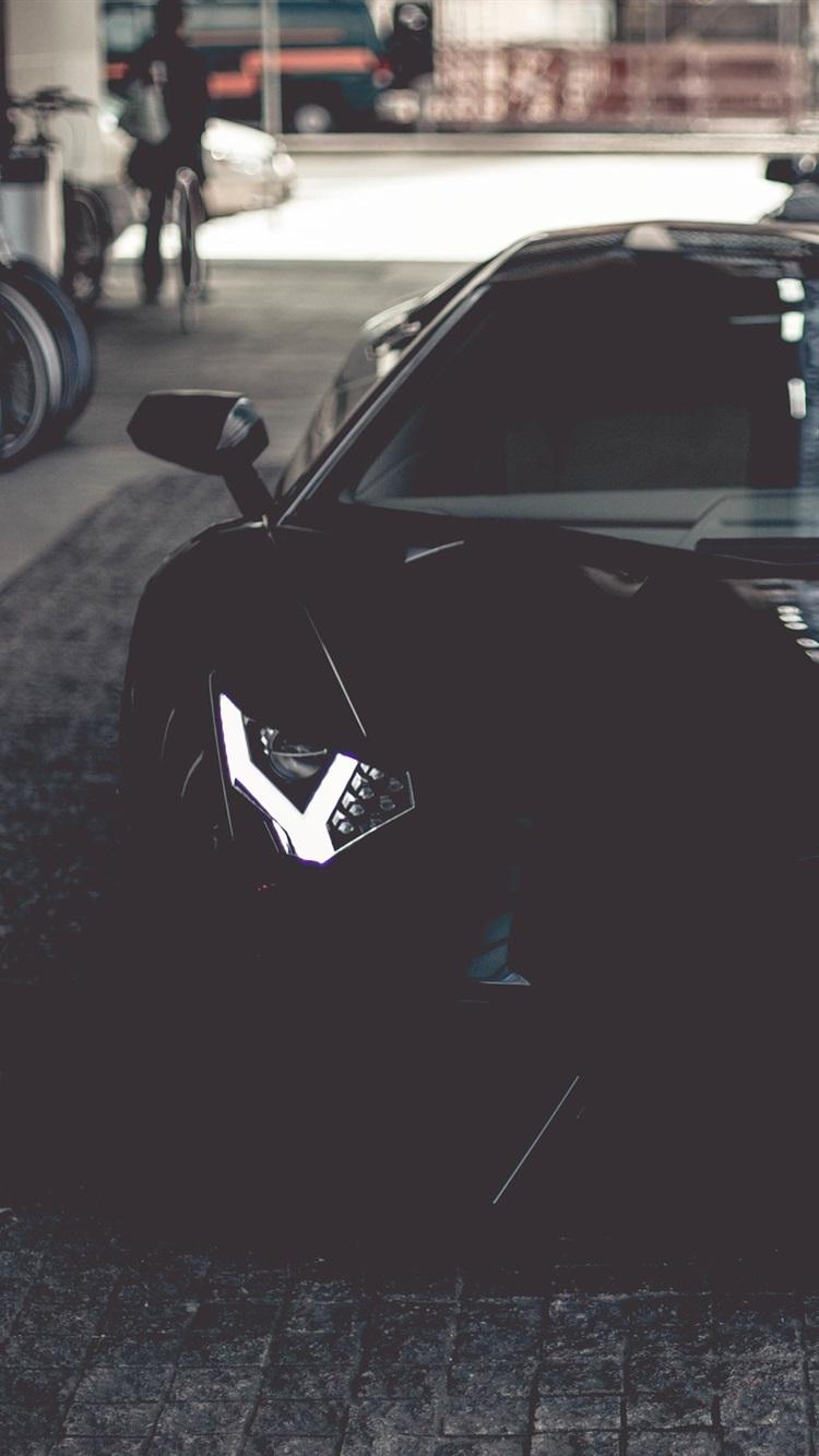 Lamborghini Aventador Black Supercar Front View Door Opened