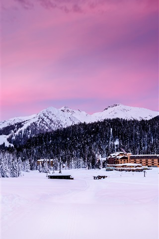 iPhone Wallpaper Madonna di Campiglio, Italy, Alps, mountains, trees, snow, houses, dusk