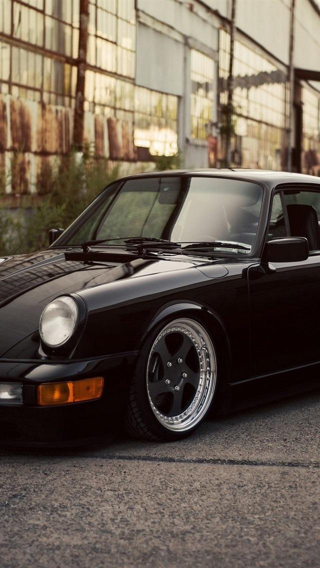 Porsche 911 Carrera black car 640x1136 iPhone 5/5S/5C/SE