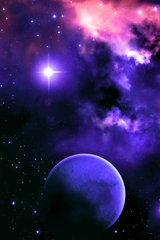 iPhone Wallpaper Space, nebula, stars, planet, light, colors