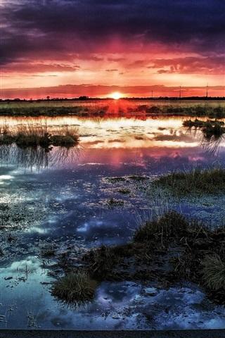 iPhone Wallpaper Swamp, horizon, sun, sunset, clouds, water, dusk
