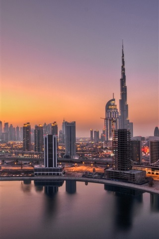 iPhone Wallpaper UAE, Dubai, lights, dawn, city buildings